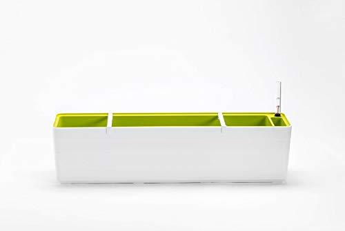 Berberis Blumenkasten Pflanzkasten mit Bewässerungssystem Selbstbewässerung 60cm und 80cm, Größe/Durchmesser:60 cm, Farbe:Weiß - Grün