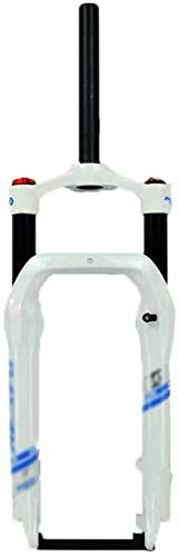 MGEE 20-inch Shock-Absorbing Fork, Aluminum Alloy Front Fork,Wide Tire Bicycle Suspension Fork(Color:White Blue)