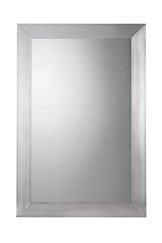 Croydex Parkeergate spiegel met geborsteld roestvrij stalen frame, rechthoekig, 92 x 61 cm