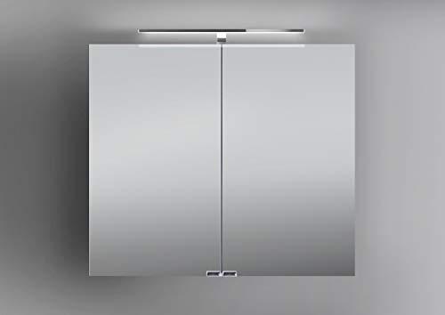 Intarbad ~ Spiegelschrank 80 cm LED Beleuchtung doppelseitig verspiegelt Grau Matt Lack