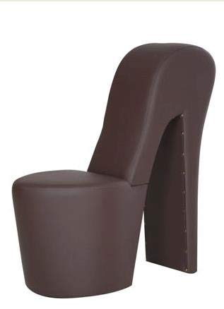 Generisch High Heel Schuhsessel 42x99x79cm Stuhl Designersessel mit Nieten (braun)