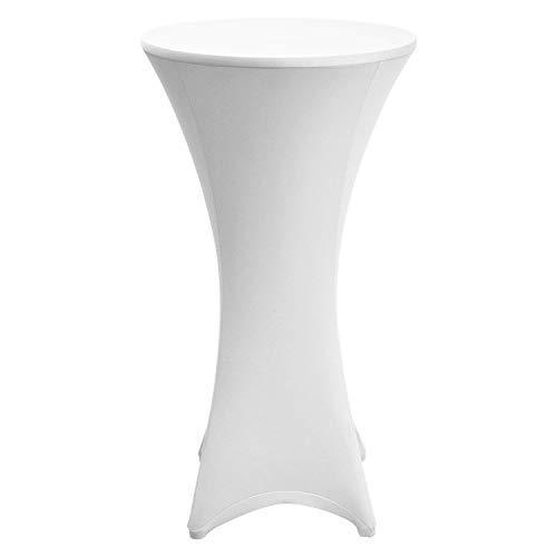Beautissu Stretch Stehtischhusse Stella für Bistrotisch Ø 60-65 cm, elegante Stretchhusse weiß als Tisch-Überzug