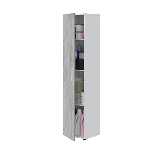 MULTIUSOS - Armario alto 1 puerta gris y blanco con estantes de almacenamiento