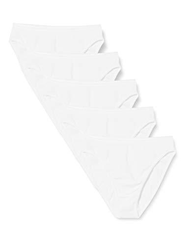 Amazon-Marke: Iris & Lilly Damen Cotton Brief 5er Pack,Weiß (White),Large