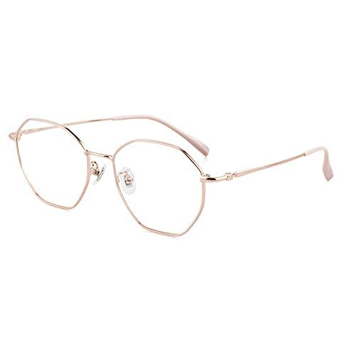 HQMGLASSES Vidrios de Lectura al Aire Libre fotocrómica multifocal progresiva de Las señoras, Gafas de Sol de Marco Poligonal de Metal / UV400,Rosado,+1.0