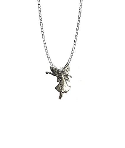 Fairy With Wand PP-G22 - Emblema de peltre inglés en un collar de plata de ley 925 de 45,7 cm