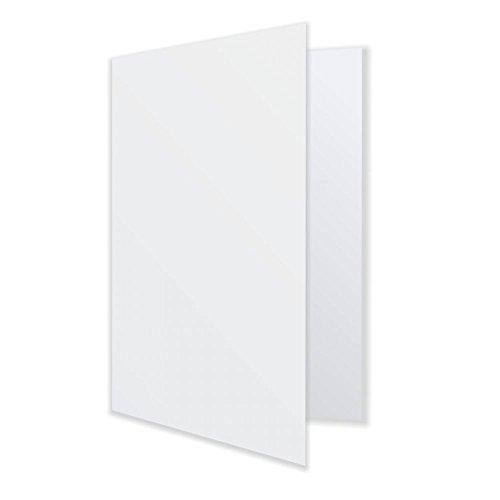 100 Klappkarten Faltkarten Doppelkarten DIN A6 (DIN A5 offen) weiß mit Nute - bedruckbar - TOP Qualität
