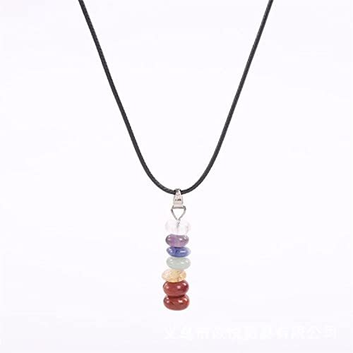 Collana con ciondolo a forma di colonna dei 7 chakra, pietre curative, collana con ciondolo a forma di pietra rotonda, gioielli spirituali naturali da donna