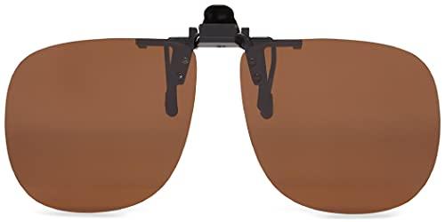 Fisherman Eyewear 8FCO Clip On Original Black Square Frame Polarized Sunglasses (Brown Lens)