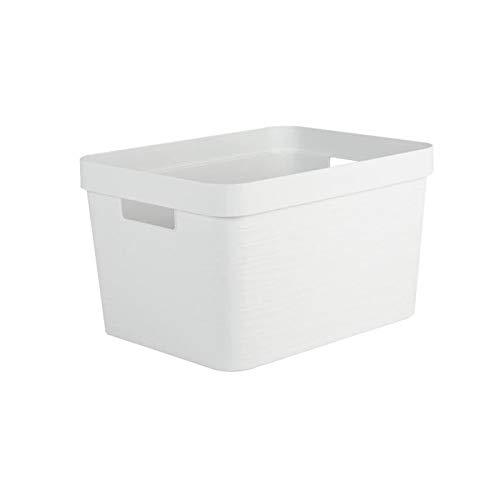 EDA PLASTIQUE Boîte de Rangement Decor Stone Blanc - 18 L