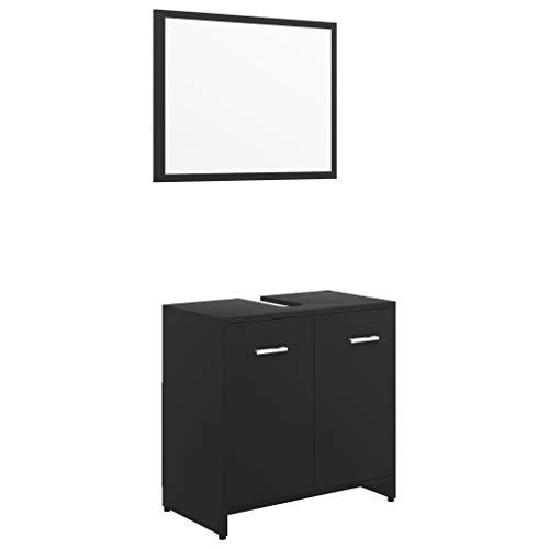 vidaXL Badmöbel Set Spiegel Waschbeckenunterschrank Badschrank Badezimmermöbel Unterschrank Waschtischunterschrank Badezimmerschrank Schwarz Spanplatte
