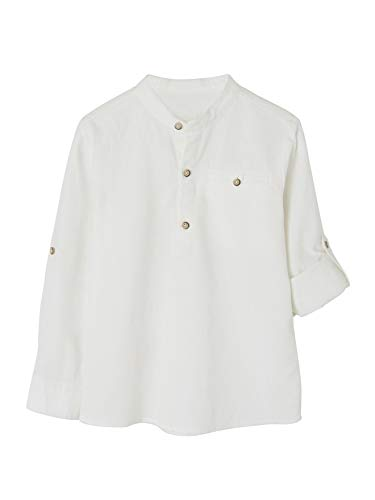 VERTBAUDET Camisa de Lino/algodón para niño con Cuello Mao, de Manga Larga Blanco Claro Liso 5A