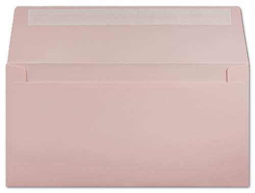 50 DIN Lang Brief-Umschläge Rosa - 11 x 22 cm - 120 g/m² Haftklebung Standard Brief-Kuverts für Taufe & Einladungen von Ihrem Glüxx-Agent