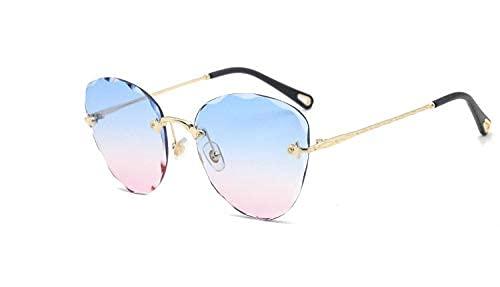 LAMZH Gafas de sol de moda elípticas sin marco recortando gafas de sol irregulares gradiente película océano personalidad gafas de sol accesorios (color: C)
