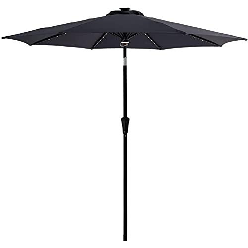 XKESBS Sombrilla para jardín, Parasol para Patio, 11 pies, luz Solar LED, sombrilla para Exteriores, Mesa de Patio y sombrilla de Mercado con botón de inclinación,Negro