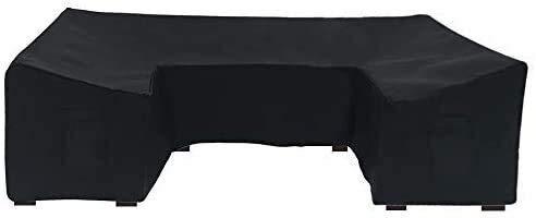 ZJBJ Cubiertas de Muebles al Aire Libre Protector de sofás seccional Negro Impermeable para el Agua para el Patio Sofá Conjuntos en Forma de U Forma 126x61 Pulgadas