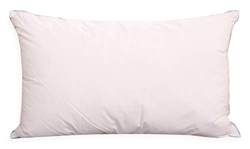 PERLARARA - Cuscino Letto Eco iDream, Cuscino Antiacaro Bianco 50x80 cm, Guanciale Letto Alto in Fresco Percalle di Cotone Anallergico