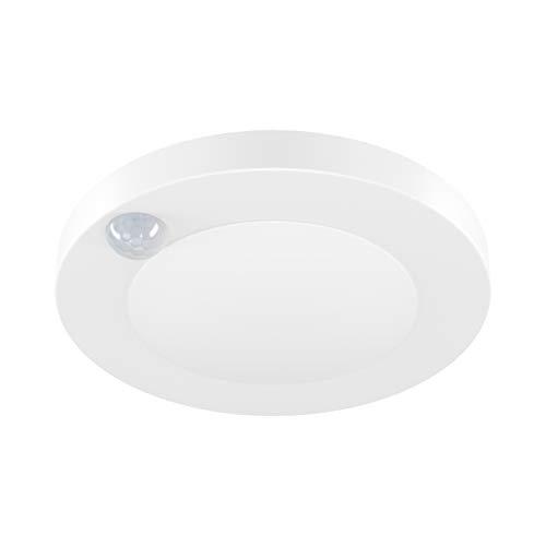 JULLISON 4 Inch LED Motion Sensor Closet Light Surface Mount Ceiling Disk Light, 120VAC, 10 Watts, 600Lm, CRI80+, 5000K Daylight White, ETL Certified, Wet Location, Round and White