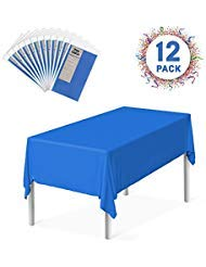 "Zoe Deco Plastic Tablecloth, 54"" x 108"" Blue Tablecloth - 12 Pack - Rectangle Tablecloth for Parties, Graduations, and Picnics"