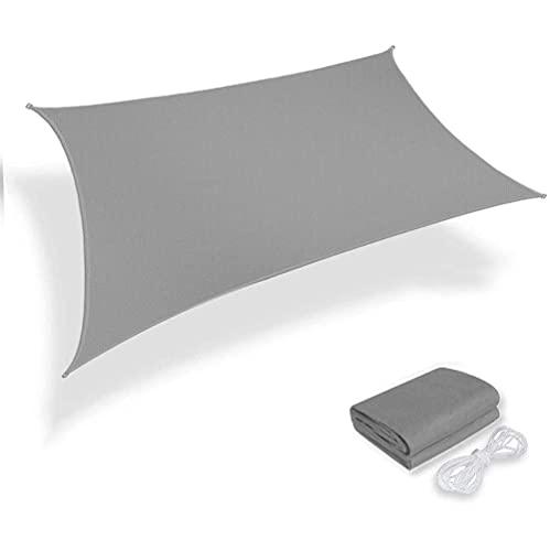 Toldo Vela de Sombra Rectangular Impermeable a Prueba de Viento protección UV para Patio, Exteriores, Jardín, Color Arena, PES Poliéster,Gris,2×3m/6.5×9.8ft