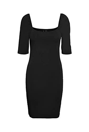VERO MODA Damen VMGLORIA 2/4 Short Dress JRS GA Kleid, Black, M