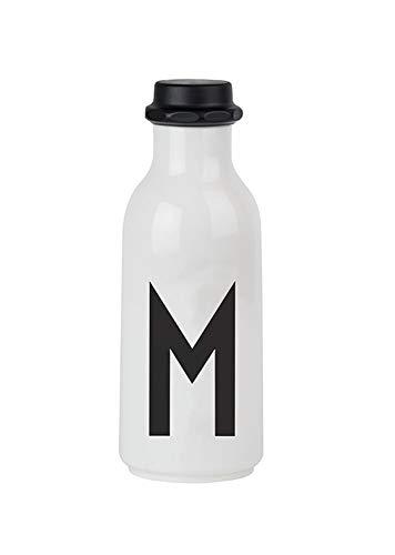 Design Letters Persönliche Wasserflasche/Trinkflasche. Buschstabe: M. Unzerbrechlich aus Tritan Kunstoff. BPA Frei. Weiß, 500ml.