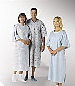 Personal Touch Unisex Hospital Patient Gown Metal Snap IV Sleeves with Telemetry Pocket - Teal Diamonds Print - One Size Pack of 2