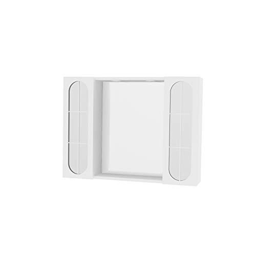 Bricote Specchio specchiera 940LED da Bagno 2 Ante con specchi 2 luci a LED Laccato Bianco cm 77 x 57 x 16