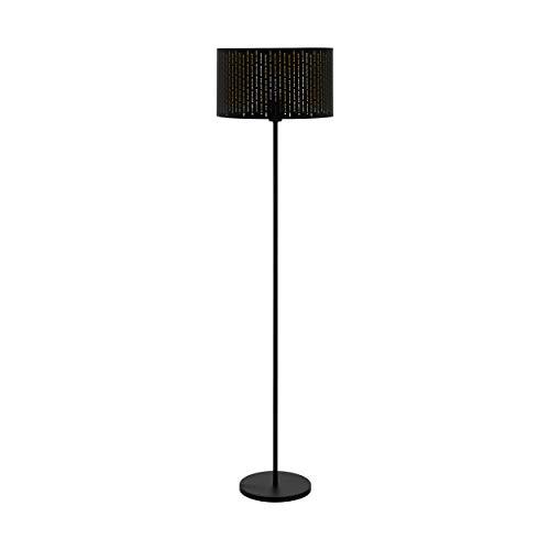 EGLO Lámpara de pie Varillas, 1 lámpara de pie moderna, de acero y tela, lámpara de salón en negro, dorado, lámpara con interruptor, casquillo E27, 98315