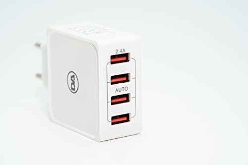 DAEWOO DI-1108 - Caricatore USB, 4 porte USB, uscita max. 5 V e 2,4 A, ricarica simultanea per 4 dispositivi