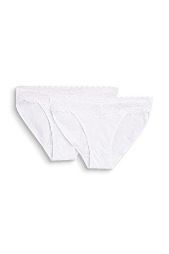 ESPRIT Bodywear Damen Tessa 2 Mini Brief Slip, 100/White, 44 (2er Pack)