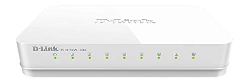 D-Link Ethernet Switch, 8 Port Unmanaged Gigabit Desktop Plug and Play Compact Design White (GO-SW-8G)