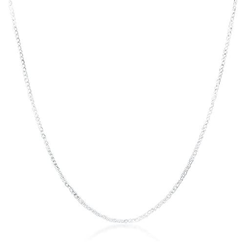 DOOLY Collar de Cadena Plana Lateral de Plata de Ley 925 de 16-30 Pulgadas 2mm para Mujer, Hombre, Regalo de joyería de Boda a la Moda
