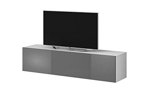 E-Com - TV Board hängend Lowboard Hängeschrank Hängeboard Rocco - 160cm - Grau