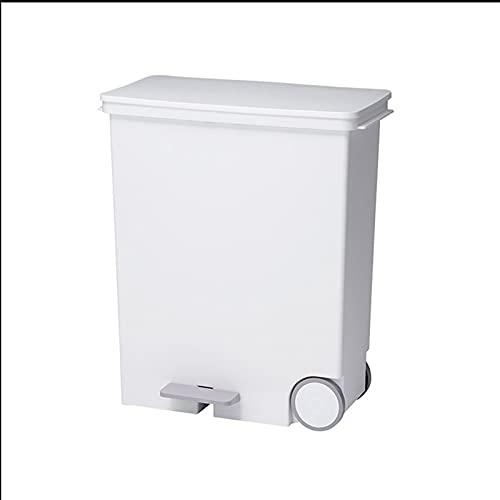 ZHONGTAI Mülleimer 25L / 33L Mülleimer mit Fußpedal, ABS-Recyclingbox mit Rädern Mülleimer-Mülltonnen für den Innen- / Außenbereich Schwingdeckeleimer (Color : White Narrow Side, Größe : 25L)