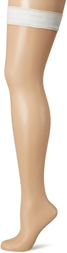 Palmers Damen Halterlose Strümpfe Stay-Up Privee Fleur, 20 DEN, Weiß (Pearl 224), Medium (Herstellergröße:38-39)