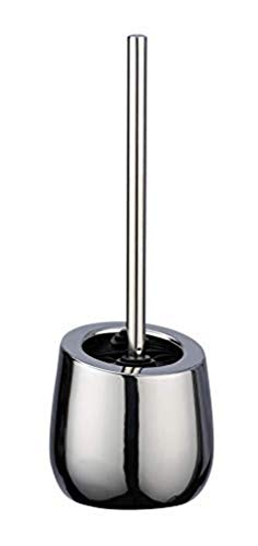 WENKO WC-Garnitur Badi Chrom Keramik - WC-Bürstenhalter mit Silikonborsten und Randreiniger, Keramik, 13.5 x 38 x 13.5 cm, Chrom