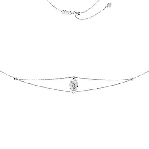 Gargantilla de plata de ley 925 chapada en rodio ajustable con Virgen María, regalo de joyería para mujer – 43 centímetros