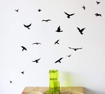 Autocollant mural en vinyle pour chambre d'enfant Motif oiseaux et animaux de compagnie