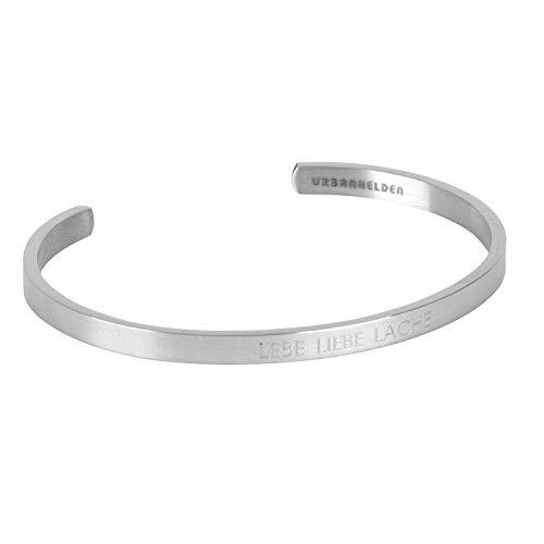 URBANHELDEN - Armreif mit Spruch - Damen Schmuck Inspiration Motivation - Verstellbar, Edelstahl - Armband mit Gravur Lebe Liebe Lache - Silber