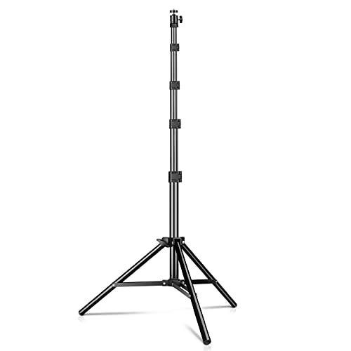 KIBTOY Lichtstativ,Lampenstativ mit Schnellverschlüsse 47 bis 150cm,4.5kg Traglast Einsetzbar Stativ Ständer für Beleuchtung, Ringleuchte, Blitz, Live-Streaming, Studio, Alu Schwarz