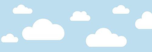 lovely label Bordüre selbstklebend Wolken BLAU - Wandbordüre Kinderzimmer/Babyzimmer mit Wolken - Wandtattoo Schlafzimmer Mädchen & Junge – Wanddeko Baby/Kinder