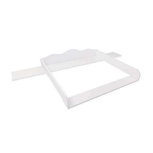 Cambiador Puckdaddy Emil - 159,5x80x15 cm, cambiador de madera en blanco, tablero cambiador de alta calidad adecuado para las cómodas de IKEA Hemnes, incl. material de montaje para la pared