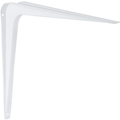 Stahlblech-Konsole 280 mm Regalträger weiß Regalkonsole Metall für Wandregale | Stahl weiß beschichtet | Wand-Winkel für Wandboard, Bücherregale, Holztablare | 4 Stück - Regalhalter für Wand-Montage