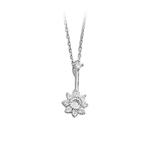 ShZyywrl Collar De Joyas Regalos para Aniversario Cumpleaños De La Madre Collar Collar Simple De Plata De Ley 925 con Flor De Sol, Cad