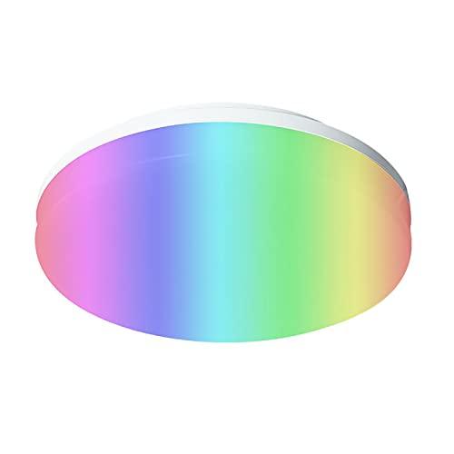 LED Lámpara de Techo RGB Regulable, WIFI RGB Luz de Techo Cambia de Color con Mando a Distancia Sala de Estar Luces de Techo con Control de APP Compatible con Alexa Asistente de Google