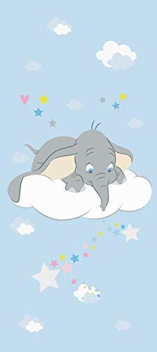 AG Design Dumbo schaut nach unten, Disney, Vlies Fototapete für EIN Kinderzimmer, 90 x 202 cm, FTDN V 5490, Blau