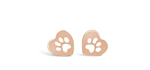 Rosa Vila Heart Dog Paw Print Earrings, Puppy Earrings for Owners of All Dog Breeds, Dog Remembrance Earrings, Veterinarian and K9 Officer Jewelry Gift for Women (Rose Gold Tone)