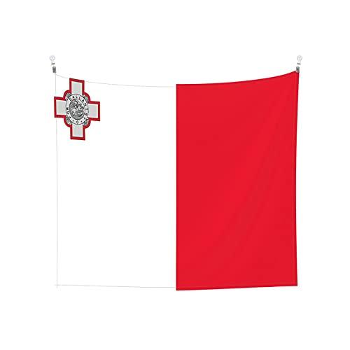 Wandteppich, Motiv: Flagge von Malta, Wandbehang, Boho, beliebt, mystisch, Trippy Yoga, Hippie, Wandteppiche für Wohnzimmer, Schlafzimmer, Wohnheim, Heimdekoration, Schwarz & Weiß Stranddecke