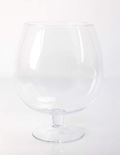 INNA-Glas Vase Boule sur Pied - Grand Verre à Brandy Liam, Transparent, 30cm, Ø 23cm - Verre XXL - Verre géant